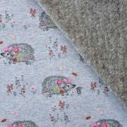 RESTSTÜCK 98 cm Sweatstoff Alpenfleece Igel, rosa jeansblau meliert