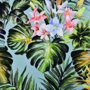 Dekostoff tropische Blätter Panama Digitaldruck, grün auf mint