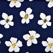 Baumwoll Stretch Stoff Blumen, weiß dunkelblau