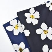 RESTSTÜCK 138 cm Baumwoll Stretch Stoff Blumen, weiß schwarz