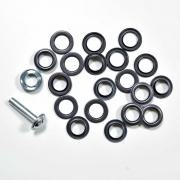 10 Metall Ösen Gunmetal 14 mm mit Werkzeug