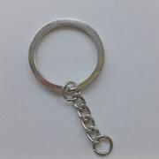 Schlüsselring mit Kette 30mm, silber