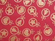 Baumwollstoff Weihnachtskugeln Sterne Glitzer, gold rot