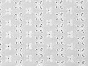 RESTSTÜCK 74 cm bestickter Baumwollstoff Blumen Schmetterlinge Lochstickerei, weiß