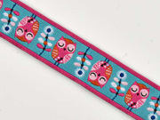 Webband Eulen Owls Garden Jolijou, rosa-mint