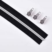 endlos Reißverschluss metallisiert SILBER 5 mm Spirale + 3 Schieber, schwarz
