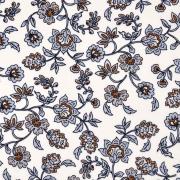 Viskose Stoff Blumenranken, eisblau ockergelb weiß
