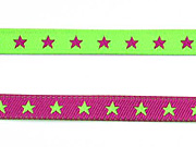 Sternchenband 7 mm neongrün/pink