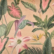 Outdoorstoff Dralon® Teflon tropische Blumen,  grün altrosa natur
