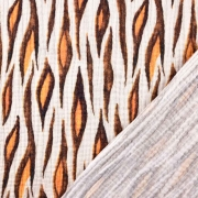 Musselin Baumwollstoff Animal Print zweilagig, orangebraun grauweiß