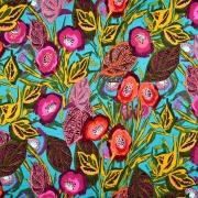 Viskosejersey tropische Blumen Ranken, beere ocker türkis