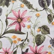 Canvas Stoff Blumen tropische Blätter Digitaldruck, altrosa grün natur