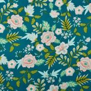 Baumwollstoff Blumen Paisley beschichtet, hellaltrosa petrol