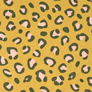Baumwollstoff Leopardenmuster beschichtet, dunkelgrau rosa ockergelb