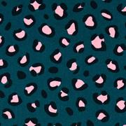 Baumwollstoff Leopardenmuster beschichtet, schwarz rosa petrol