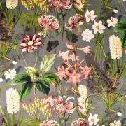 Dekosamt Velourstoff tropische Blumen, altrosa dunkelgrau