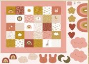 Baumwollstoff Panel Regenbogen Tiere Patchwork, ockergelb altrosa
