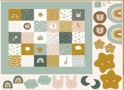 Baumwollstoff Babydecke Ausschneiden & Nähen Regenbogen Tiere, ockergelb altgrün
