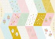 Baumwollstoff Wimpelkette zum Ausschneiden &  Nähen Luftballons Cupcakes, weiß rosa