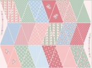 Baumwollstoff Wimpelkette zum Ausschneiden &  Nähen Rosen Landhaus Stil
