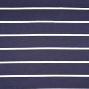 Viskose Jersey Stoff Streifen, weiß dunkelblau