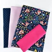 STOFFPAKET Jersey Füchse Punkte Bio-Sweat Bündchen, pink flieder dunkelblau