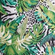 Dekostoff tropische Blätter Leopardenmuster, schwarz grün weiß