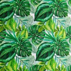 Dekostoff tropische Blätter Digitaldruck, grün weiß
