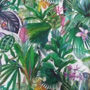 Dekostoff Blumen tropische Blätter Digitaldruck, beere grün weiß