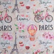 Dekostoff Paris Eiffelturm Love Digitaldruck, altrosa