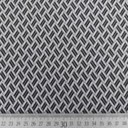 Jerseystoff Jacquard Strickjersey grafisches Muster, creme grau schwarz