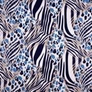 Viskosejerseystoff Zebra Leoparden Muster, jeansblau beige dunkelblau