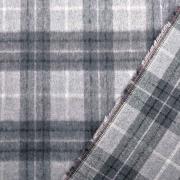 Webware Wollstoff Karomuster angeraut flauschig weich, grau schwarz