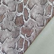 Lederimitat Schlangenmuster geprägte Optik, brau taupe schwarz