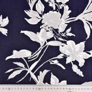 Blusenstoff Crepe Blumen, grau weiß dunkelblau