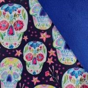 Softshell Stoff Jackenstoff Totenköpfe, pink weiß dunkelblau