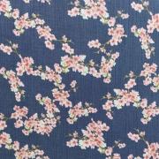 Musselin Stoff Kirschblüten Double Gauze Bio-Baumwolle, rosa dunkelblau