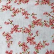 Musselin Stoff Kirschblüten Double Gauze Bio-Baumwolle, rosa weiß