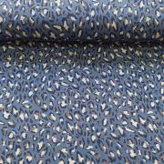 Viskose Jerseystoff Leoparden Muster, beige jeansblau