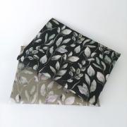 Canvas Stoff Blätter Digitaldruck, dunkelgrün grauweiß dunkelgrau