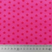 RESTSTÜCK 58 cm Jerseystoff kleine Sterne, rot pink