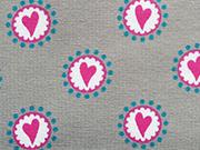 RESTSTÜCK 49 cm Jerseystoff kleine Herzen, pink weiß grau
