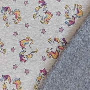 Sweatstoff Alpenfleece kleine Einhörner Sterne, gelb rosa grau meliert