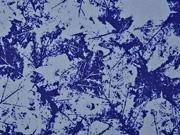 RESTSTÜCK 1,32 m Softshell Stoff 3-schichtig Blätter, jeansblau