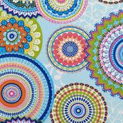 Dekostoff bunte Mandalas Ibiza Style, bunt hellblau