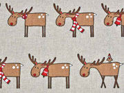 Leinenlook weihnachtliche Elche, natur