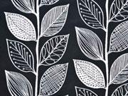 Doubleface Jacquard Blätter, schwarz weiß