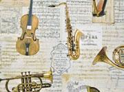 Dekostoff Instrumente Noten Digitaldruck, beige creme