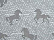 Dekostoff Pferde, hellgrau