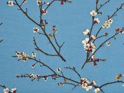 RESTSTÜCK 35 cm Dekostoff Kirschblüten Zweige, braun rauchblau
